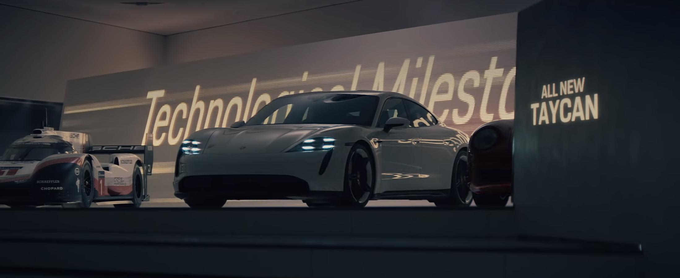 """Porsche представила художнє рекламне відео """"Викрадення"""" про Taycan та спорткари з музею"""