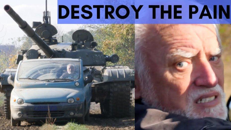 Зовнішність потворного Fiat Multipla вирішили виправити, наїхавши на нього танком