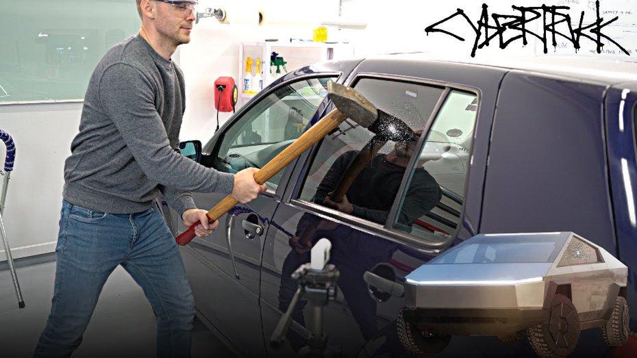 Били-били –не розбили: звичайні вікна VW Golf виявились міцнішими, ніж хвалені броньовані шибки Tesla Cybertruck (відео)